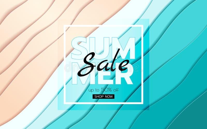 Sommarbanerförsäljning För för blåtthav och strand för bästa sikt vågor för papper Säsongsbetonad stil för snitt för designadvert vektor illustrationer