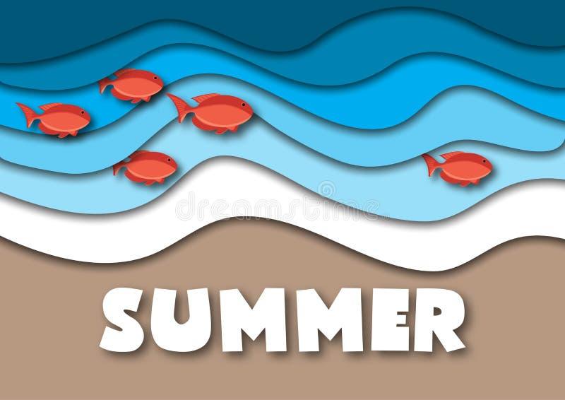 Sommarbanermall i formatet A4, med havs- eller havvågor, den tropiska sandstranden, den röda fisken och text royaltyfri illustrationer
