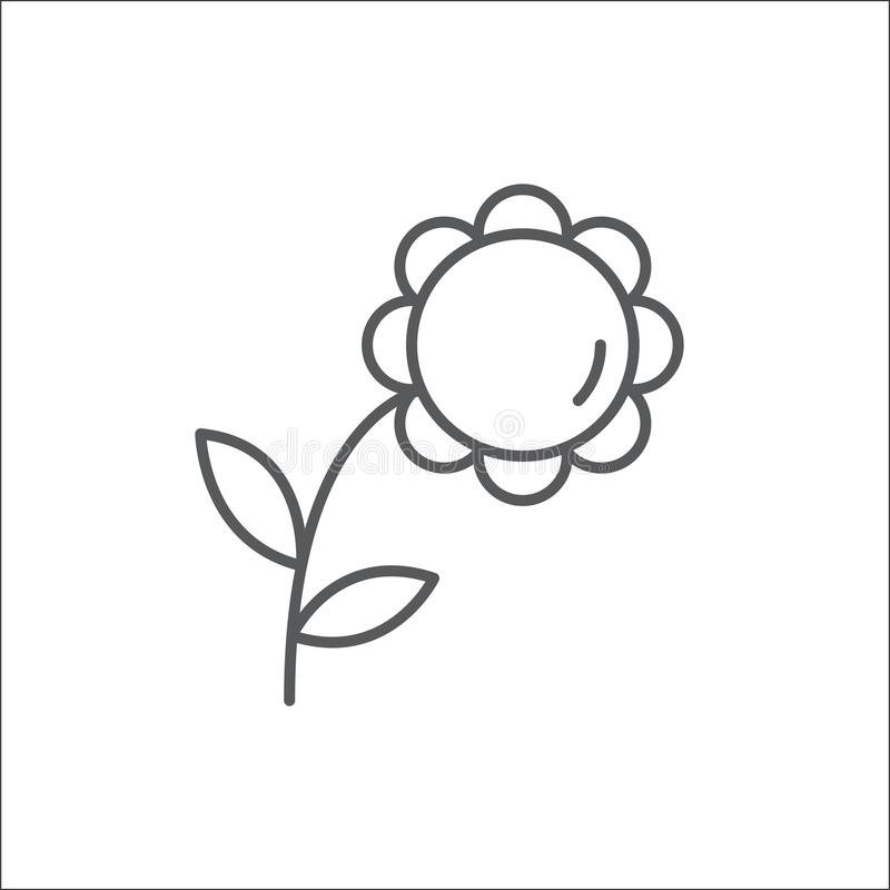 Sommarblomma med den redigerbara översiktssymbolen för sidor - perfekt symbol för PIXEL av härlig blom- beståndsdel i linjen kons royaltyfri illustrationer