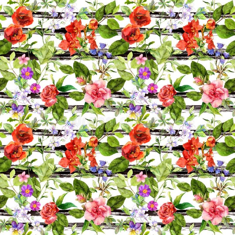 Sommarblommor, änggräs på monokrom randig bakgrund blom- upprepa för modell Vattenfärg med svarta band vektor illustrationer