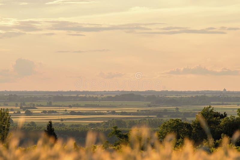 Sommarbygdfält Avlägset fältlandskap arkivfoton