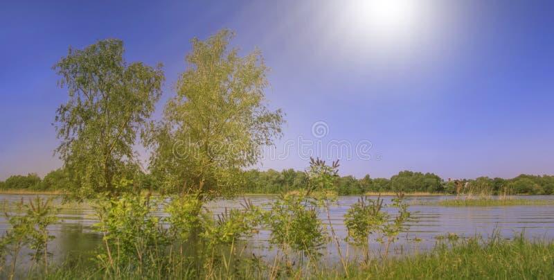 Sommarbygdlandskap med den lugna floden och bl? himmel, scenisk lantlig sikt royaltyfri fotografi