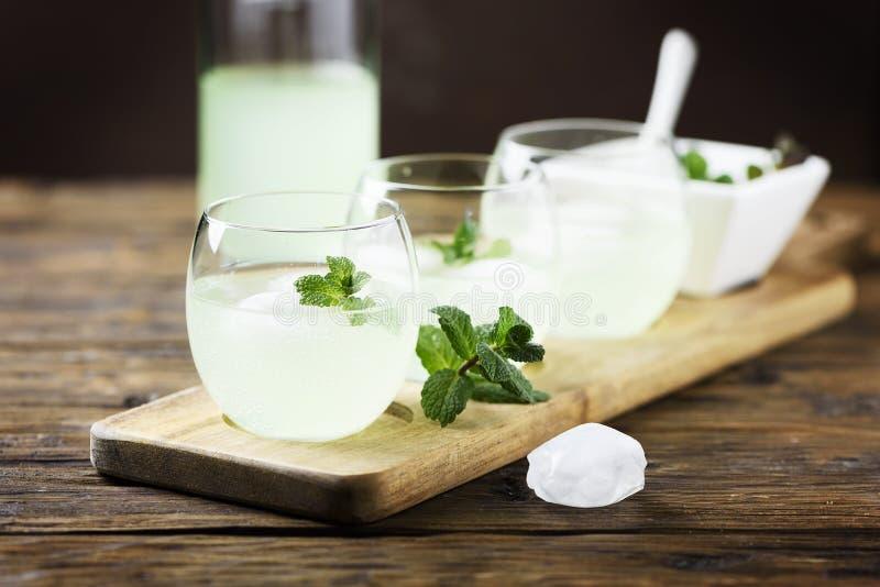 Sommarcoctail med rom, is och mintkaramellen arkivbild