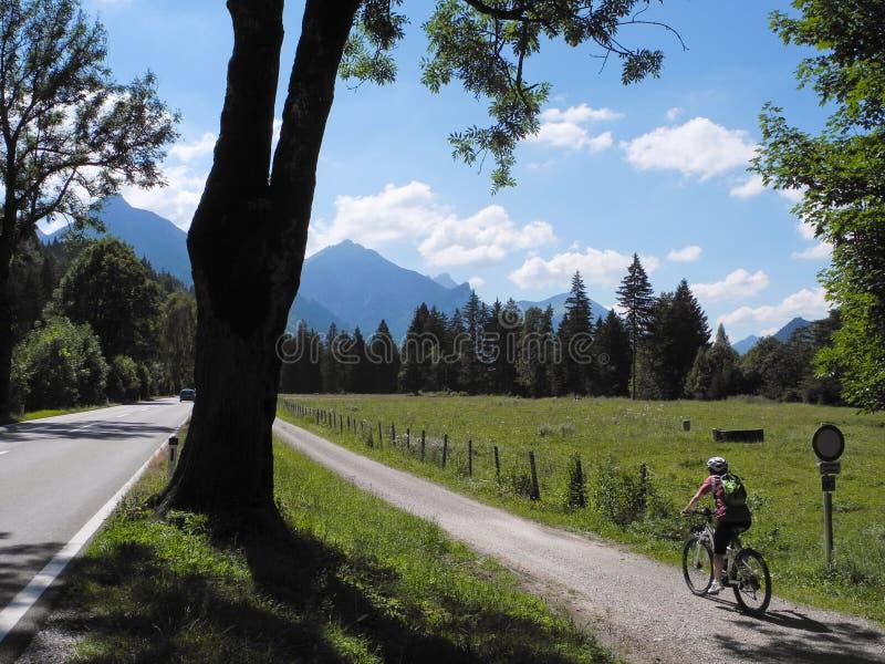 Sommardag i tysk bygd Handelsresande på cykelritt i väg från staden arkivfoton