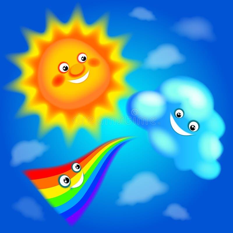 Sommardag, sol, regnbåge, moln, sommar, klar blå himmel, glädje, värme, lycka, leenden, realitet stock illustrationer