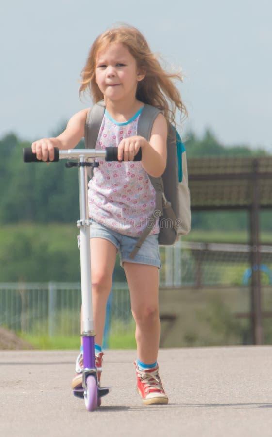 Sommardagflicka, barn på sparkcykeln arkivbilder