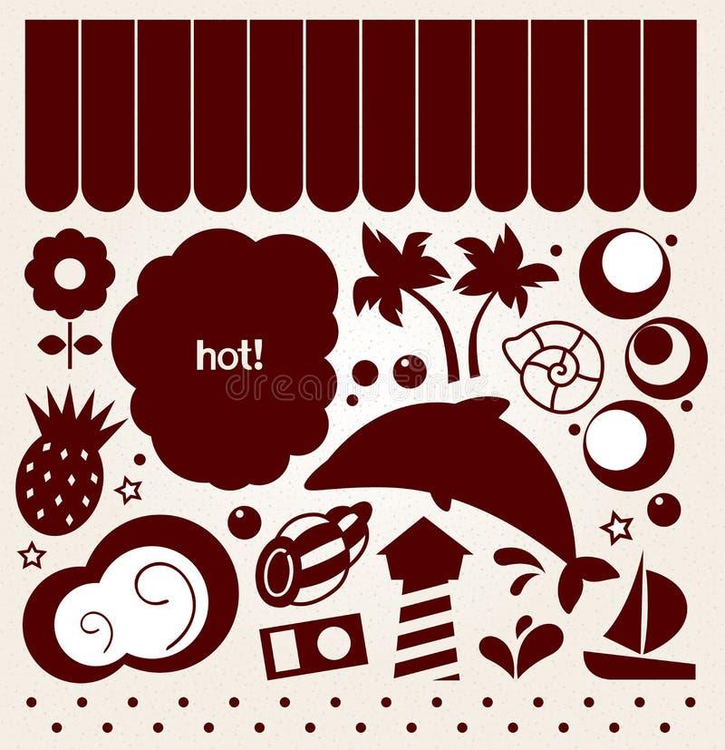 Sommardesignbeståndsdelar i retro stil (brunt) stock illustrationer
