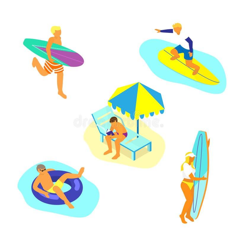 Sommardet friaaktiviteter stock illustrationer