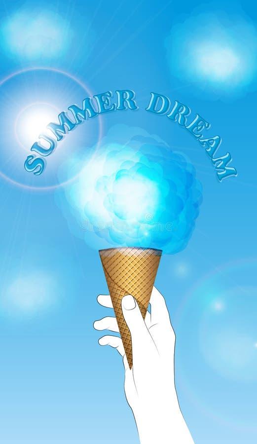 Sommardröm, moln som icecream vektor illustrationer