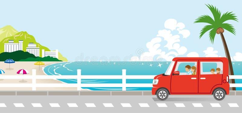 Sommardrev i sjösidagatan - familj stock illustrationer