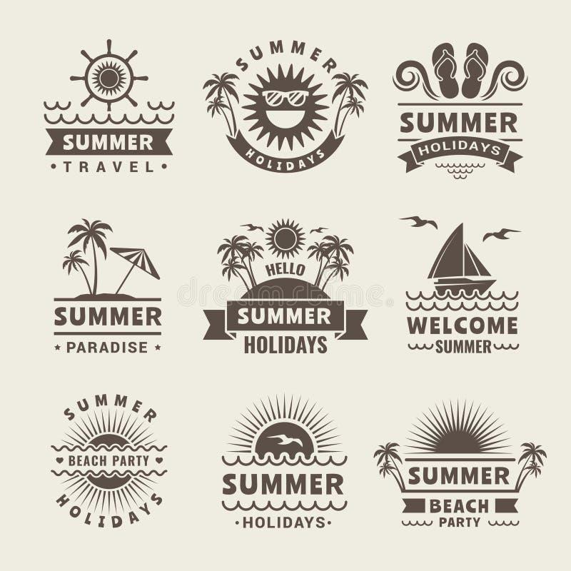 Sommaremblem Monokromma etiketter för vektor av sommartid tropiska illustrationer royaltyfri illustrationer