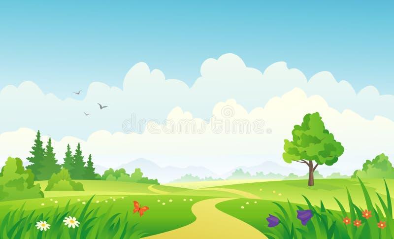 SOMMAREN landskap royaltyfri illustrationer