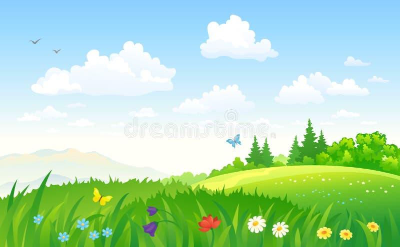 SOMMAREN landskap stock illustrationer