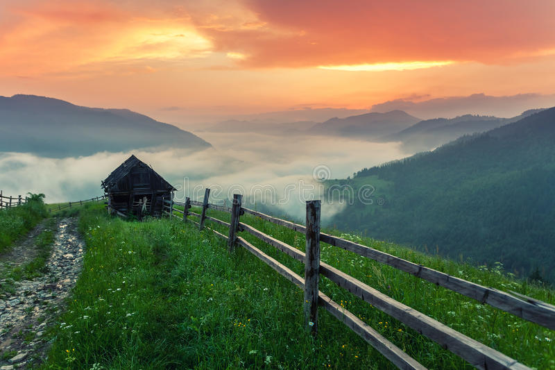 SOMMAREN landskap Bergby i de ukrainska Carpathiansna royaltyfri fotografi