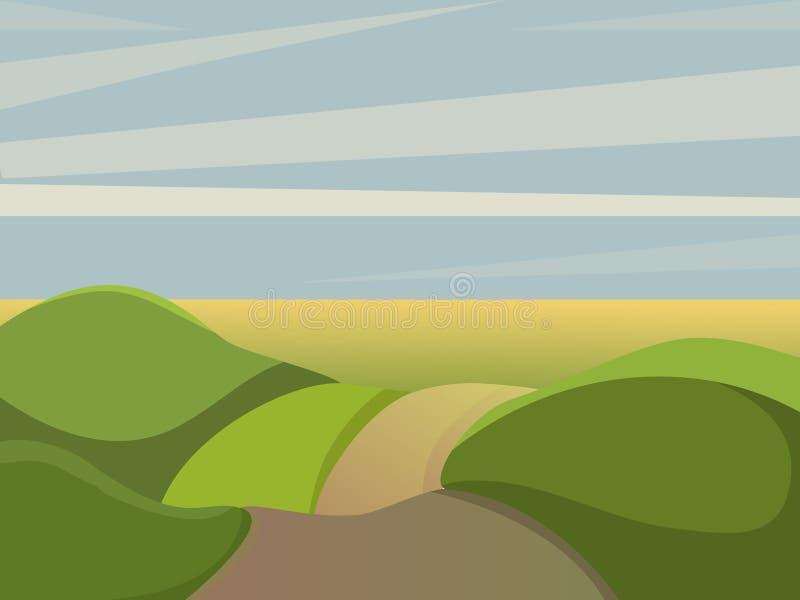SOMMAREN landskap Daglandskap stock illustrationer