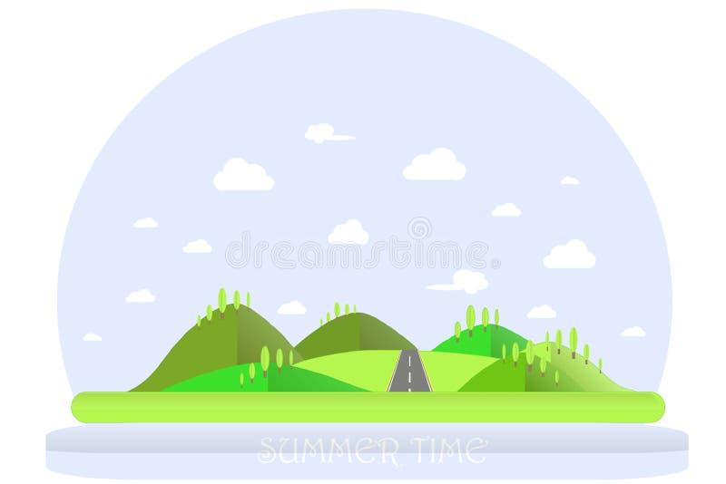 SOMMAREN landskap Gröna kullar, blå himmel, vitmoln, gröna träd, grå huvudväg Plan design royaltyfri illustrationer