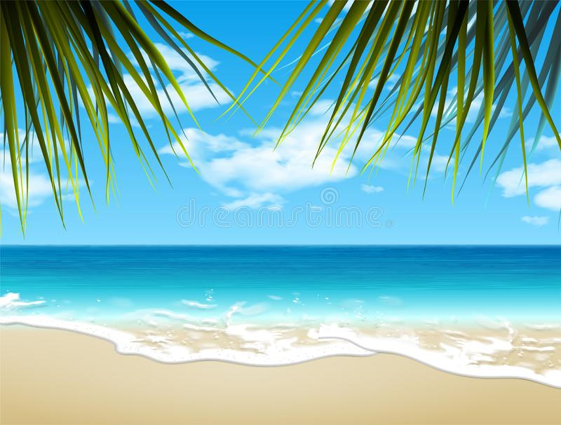 SOMMAREN landskap Kust och sandig strand vektor 3d H?g detaljerad realistisk illustration vektor illustrationer