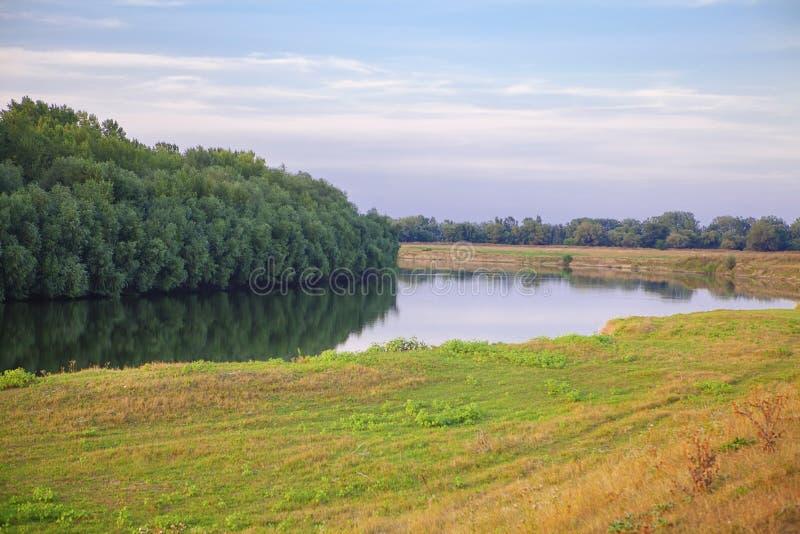Sommaren landskap med floden fotografering för bildbyråer