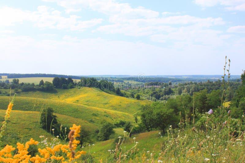 Sommaren landskap med gr?splan s?tter in och sl?sar skyen royaltyfria bilder