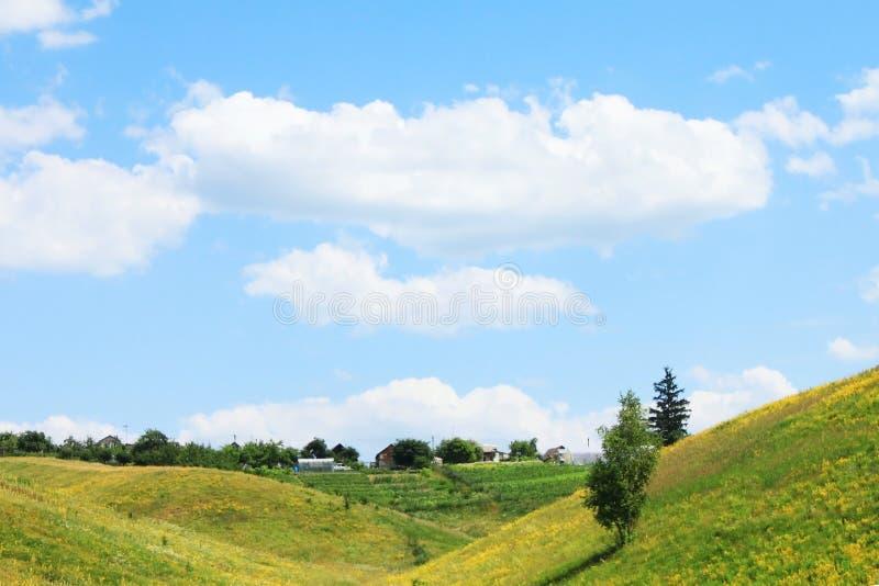 Sommaren landskap med gr?splan s?tter in och sl?sar skyen royaltyfri bild