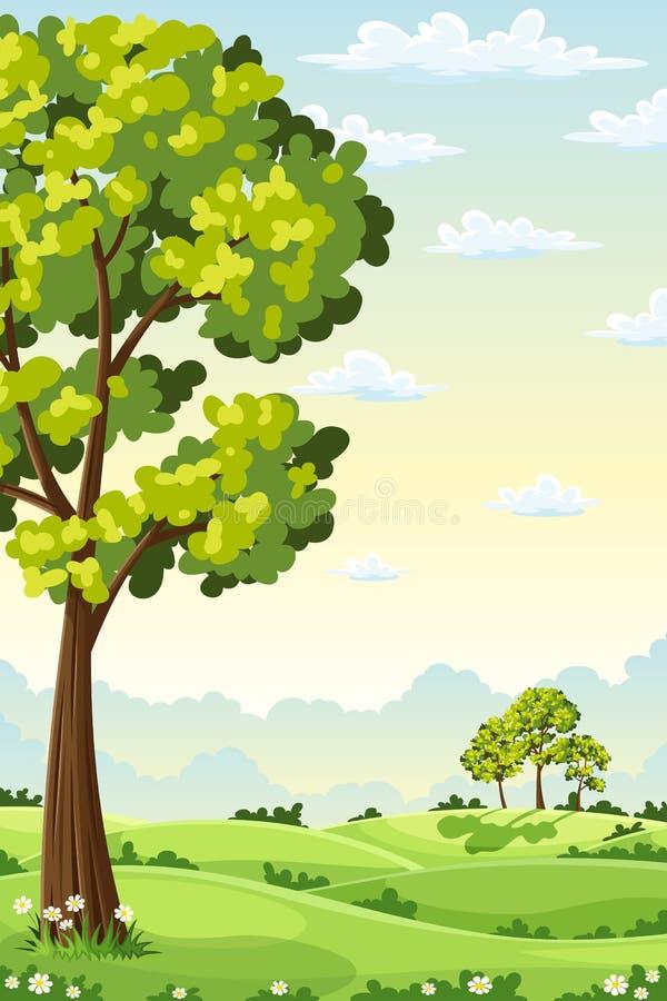 Sommaren landskap med trees royaltyfri illustrationer