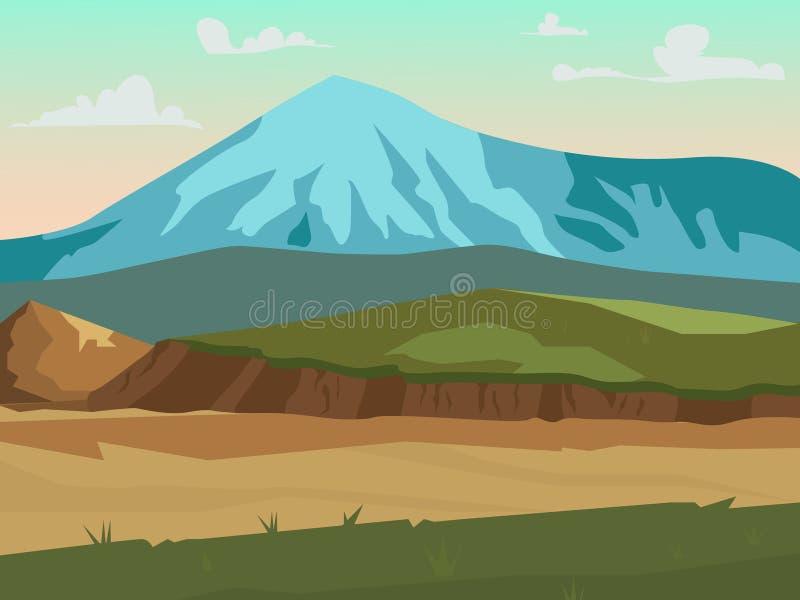 SOMMAREN landskap tsey för caucasus hög bergossetia stock illustrationer