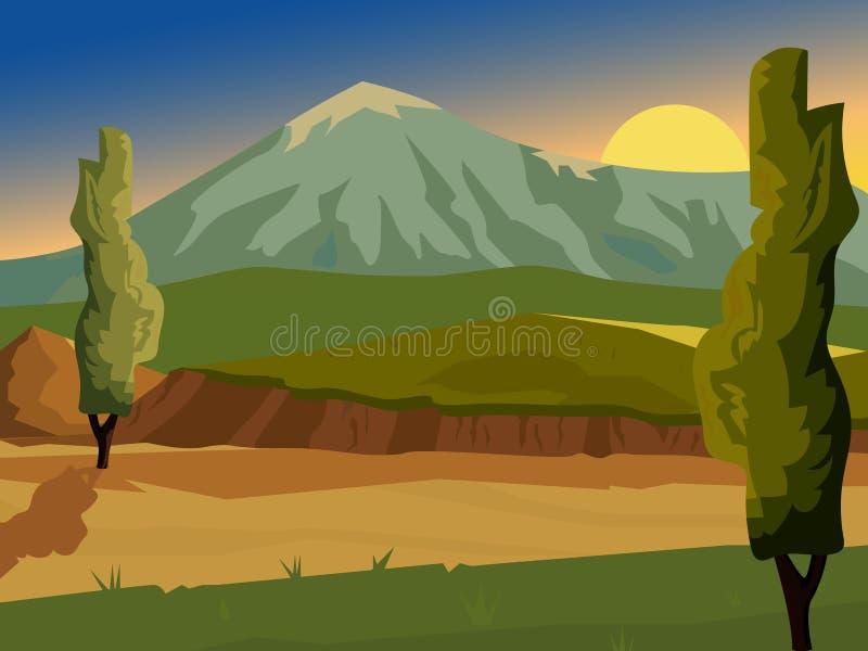 SOMMAREN landskap tsey för caucasus hög bergossetia royaltyfri illustrationer