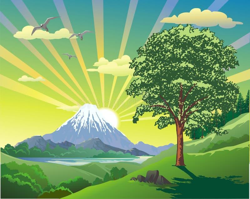 SOMMAREN landskap Vulkan på sjön Sikten från kullen till kanten stock illustrationer