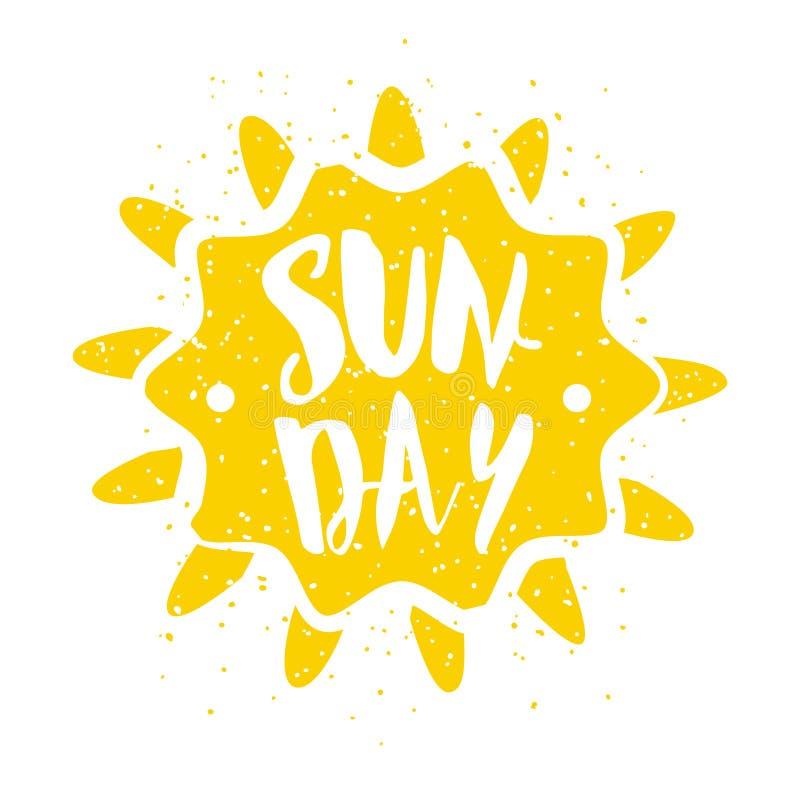 Sommaretiketten med solen och bokstäver smsar på vit bakgrund Vektorillustration för hälsningkort, garnering, tryck och stolpe royaltyfri illustrationer