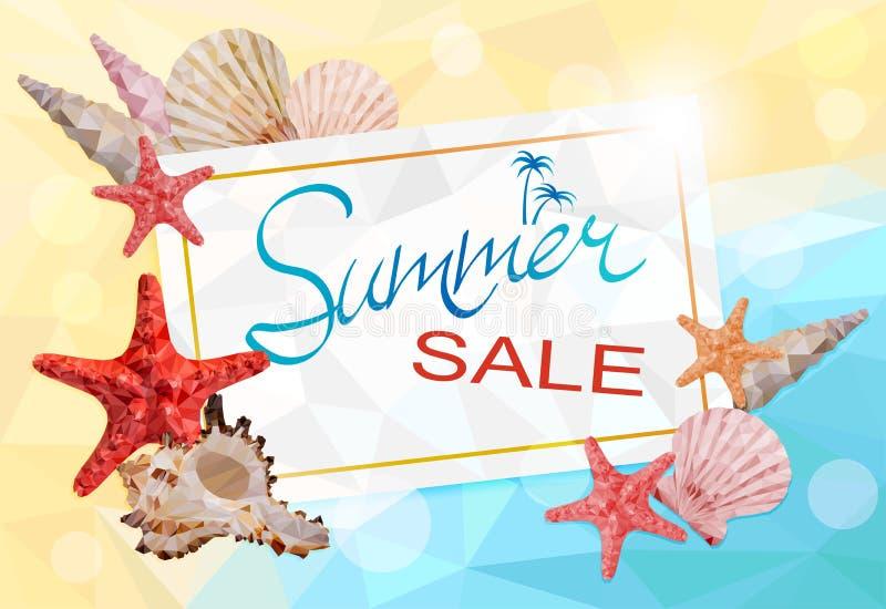 Sommarförsäljning, geometrisk polygonal illustration för vektor stock illustrationer