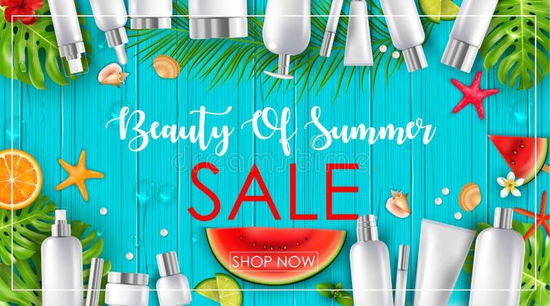 Sommarförsäljning med skönhet och skönhetsmedelbakgrund stock illustrationer
