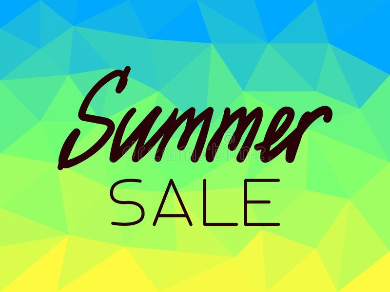 Sommarförsäljning på blå polygonal bakgrund, gult, grönt royaltyfri illustrationer