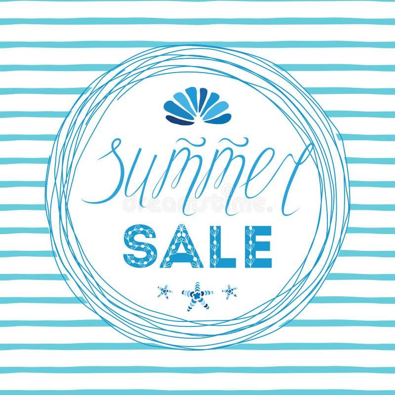 Sommarförsäljningar mall, hand dragen letterigbeståndsdel, snäckskal, havsstjärna, cirkelram vektor illustrationer