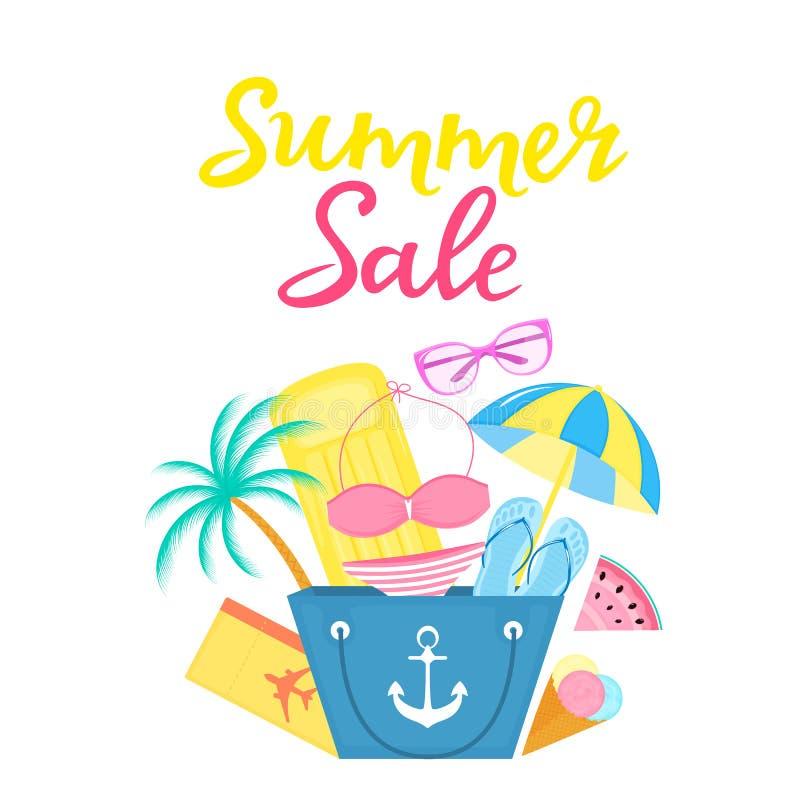 Sommarförsäljningsaffisch med strandpåsen, luftmadrass, glass, solparaply, baddräkt, en plan biljett, solglasögon royaltyfri illustrationer