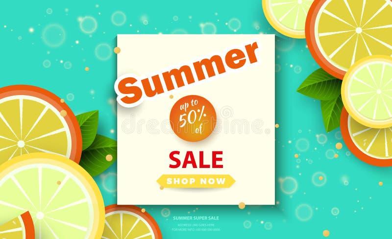 Sommarförsäljningsbakgrund för baner Apelsinskivor på en ljus bakgrund Säsongrabatter Mall för reklambladet, inbjudan stock illustrationer