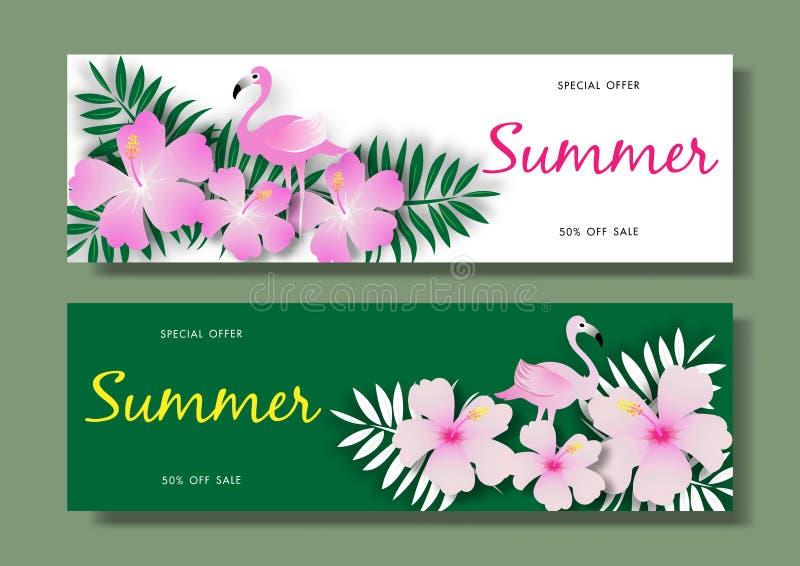 Sommarförsäljningsbakgrund med den rosa flamingofågeln på tropisk mall för bakgrundsvektorillustration stock illustrationer