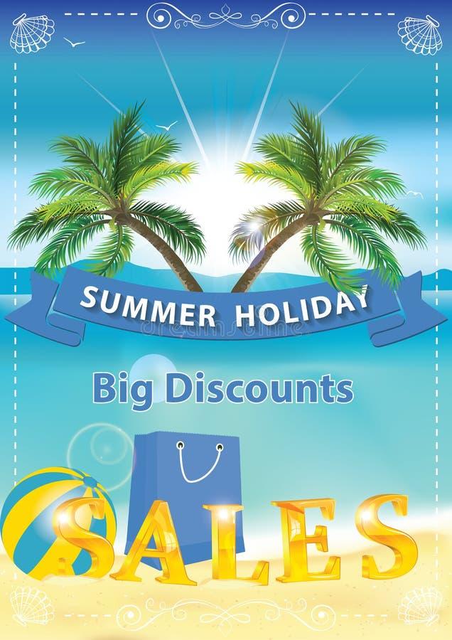 Sommarförsäljningsbakgrund med sjösidan och palmträd stock illustrationer