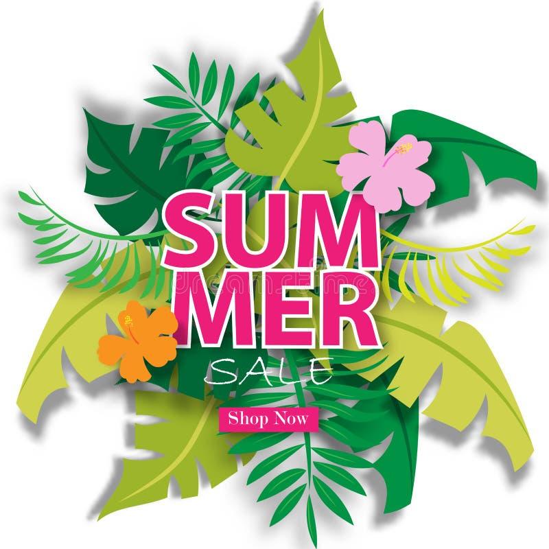 Sommarförsäljningsbakgrund med tropisk vektorillustrationförsäljning av mall royaltyfri illustrationer