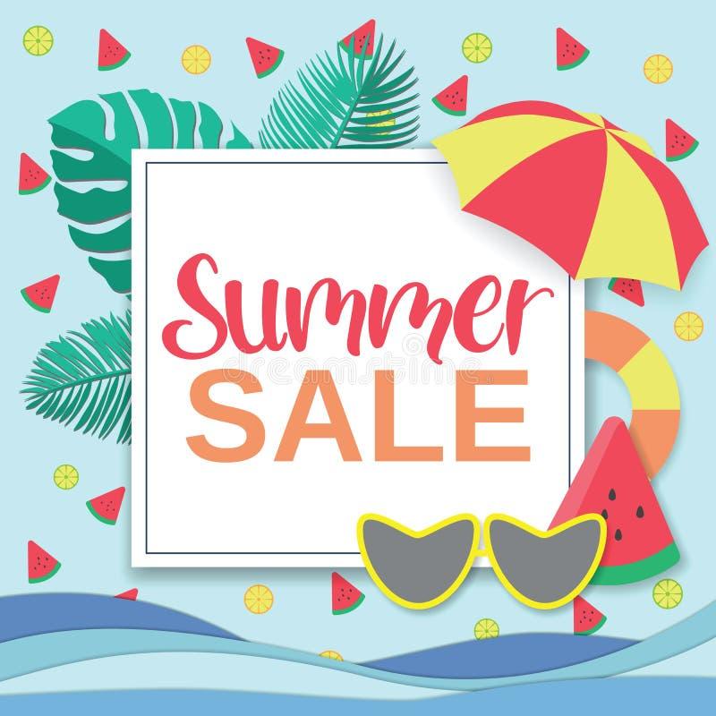 Sommarförsäljningsbaner, affischmall för illustrationsky för fjärilar grön vektor för tema för sommar vektor illustrationer
