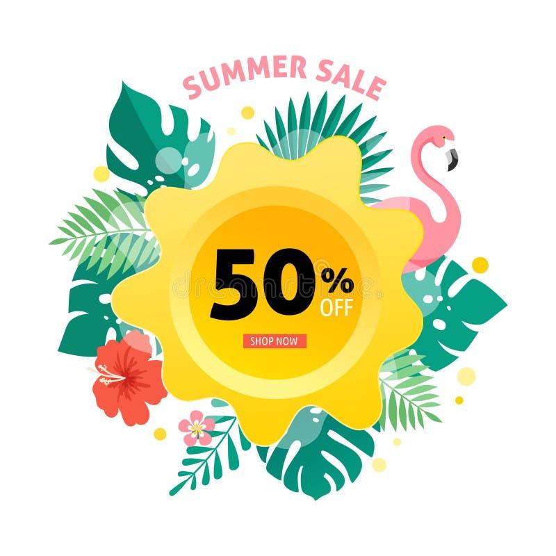 Sommarförsäljningsbaner med flamingo och tropisk sidabakgrund, exotisk blom- design för banret, reklamblad, inbjudan royaltyfri illustrationer