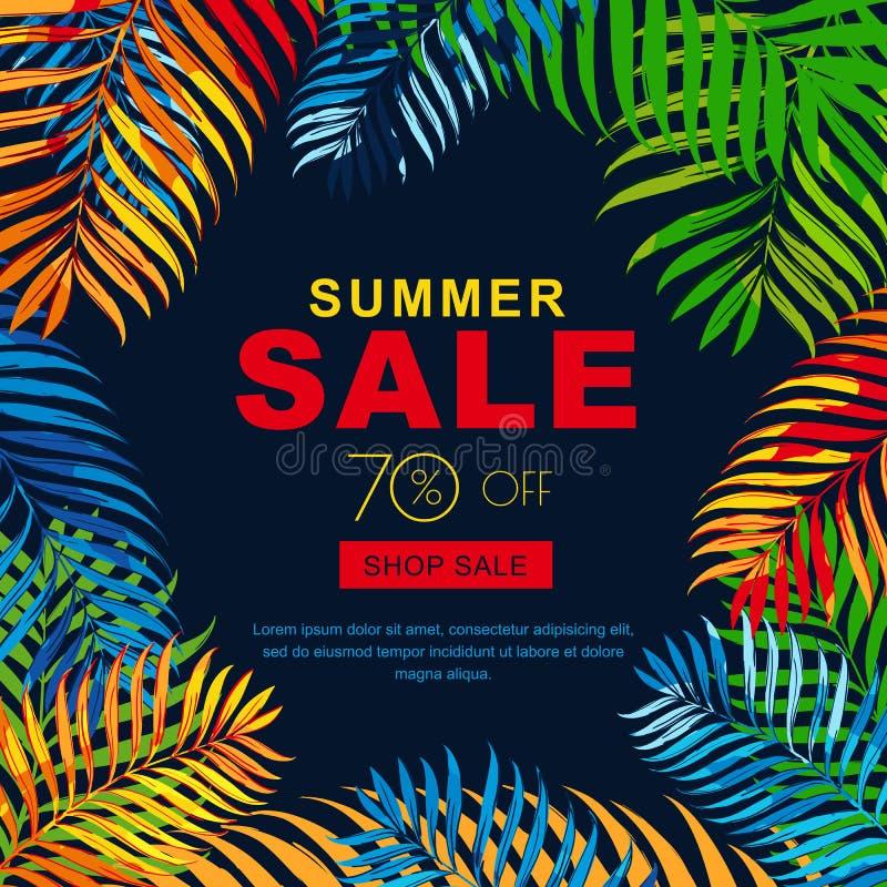 Sommarförsäljningsbaner med flerfärgade kokosnötpalmblad Tropisk posterblackbakgrund för vektor royaltyfri illustrationer