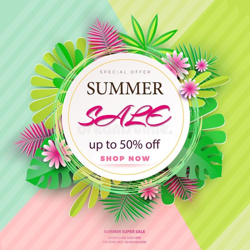 Sommarförsäljningsbaner med pappers- blommor och sidor på en ljus bakgrund Banret är idealt för befordringar, tidskrifter vektor illustrationer