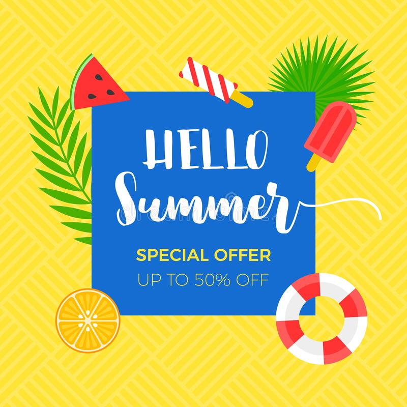 Sommarförsäljningsbaner med släkt objekt för sommar vektor illustrationer