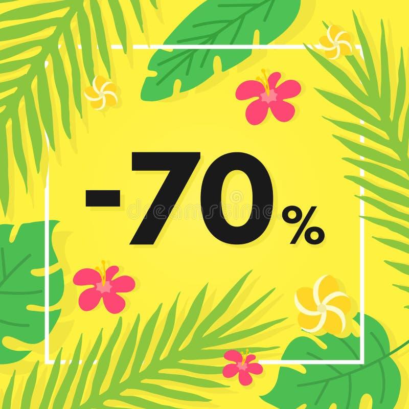 Sommarförsäljningsbaner med tropiska sidor och frukt Specialt erbjudande, försäljning 70 av Gömma i handflatan den ljusa designen fotografering för bildbyråer