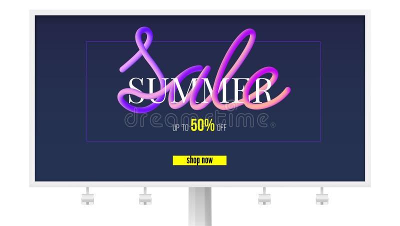 Sommarförsäljningsbaner på affischtavlan Få upp till femtio procent, shoppa nu Design av textmeddelandet i papperssnitt och färg royaltyfri illustrationer