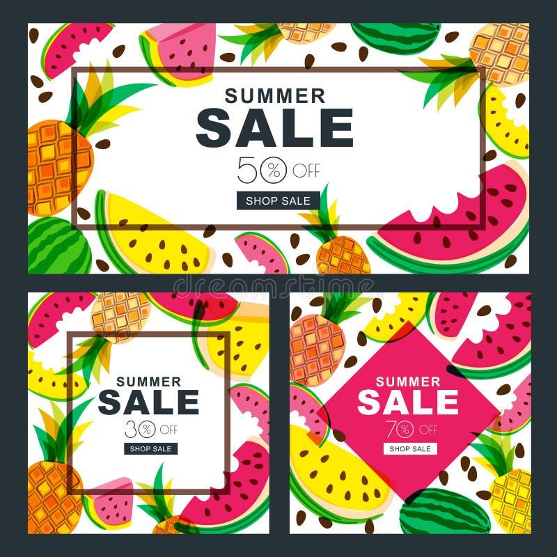 Sommarförsäljningsbaner ställde in med den nya röda och gula vattenmelon och ananors royaltyfri illustrationer
