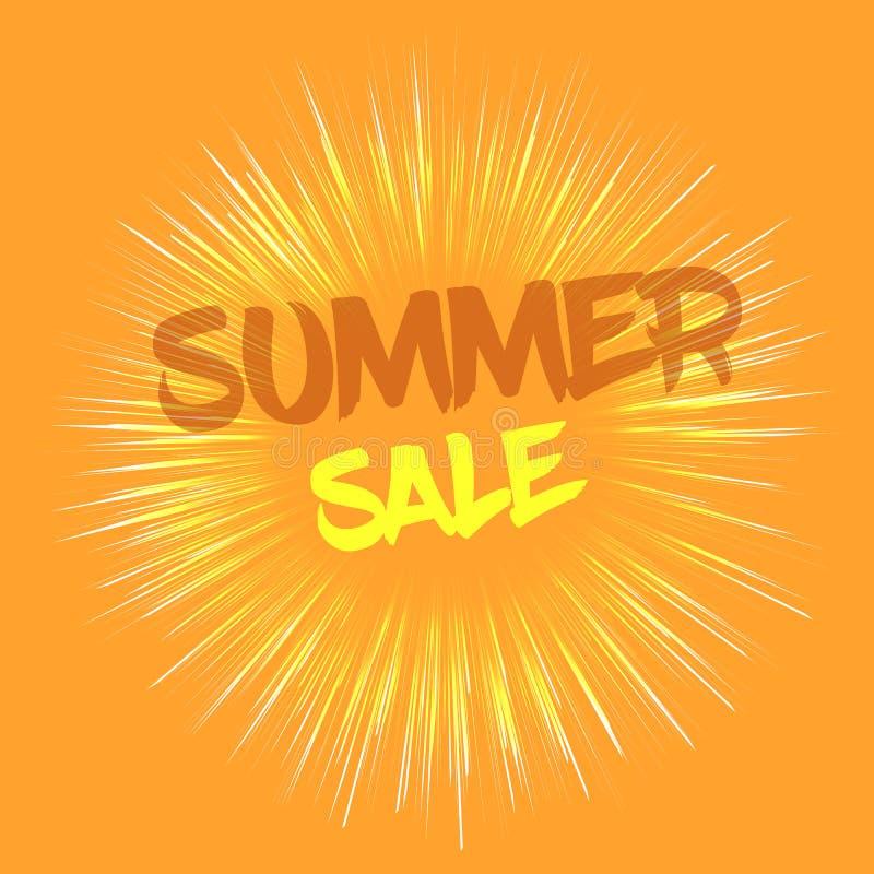 Sommarförsäljningsbegrepp med fyrverkerieffekt royaltyfri illustrationer