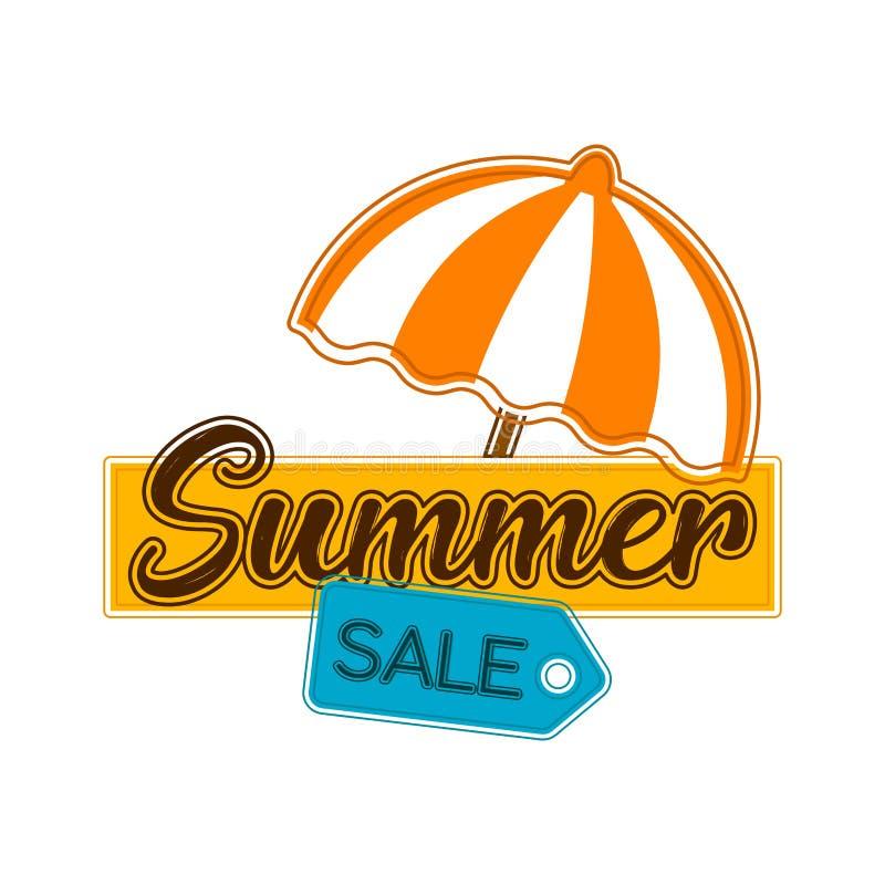 Sommarförsäljningsetikett med ett paraply