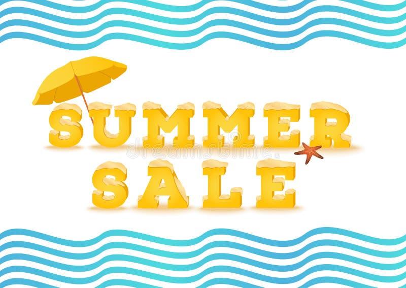 Sommarförsäljningsinskrift i stil 3d på vit bakgrund Sommaruttag, rensning, sammanlagt försäljningsbegrepp stock illustrationer