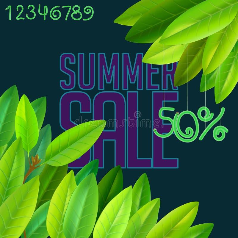 Sommarförsäljningskort stock illustrationer